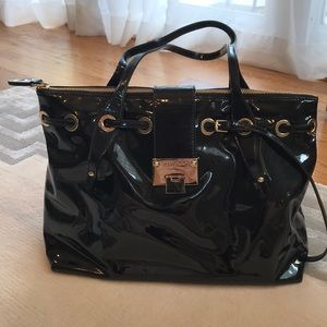 Jimmy Choo Black Patent Leather Rhea Tote